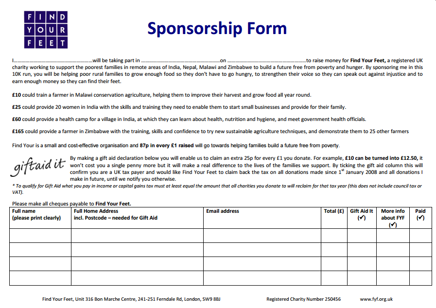 Fundraising Resources  Fundraising Sponsorship Form